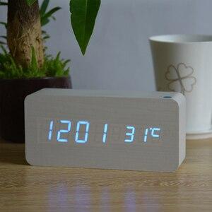 Image 5 - منبهات FiBiSonic مع ميزان الحرارة ، ساعات خشبية Led خشبية ، ساعة طاولة رقمية ، ساعات إلكترونية بتكلفة