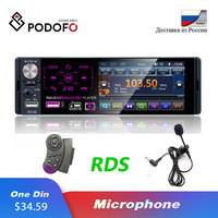 Podofo Radio Car 1 Din 4.1 Touch Screen Autoradio Bluetooth RDS AUX MP5 Video Player MP3 Auto Audio Stereo Dual USB Microphone
