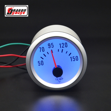 Dragon Gauge 52mm Silver shell Blue word car Refit oil temperature meter blue backlight Oil temp gauge Free shipping
