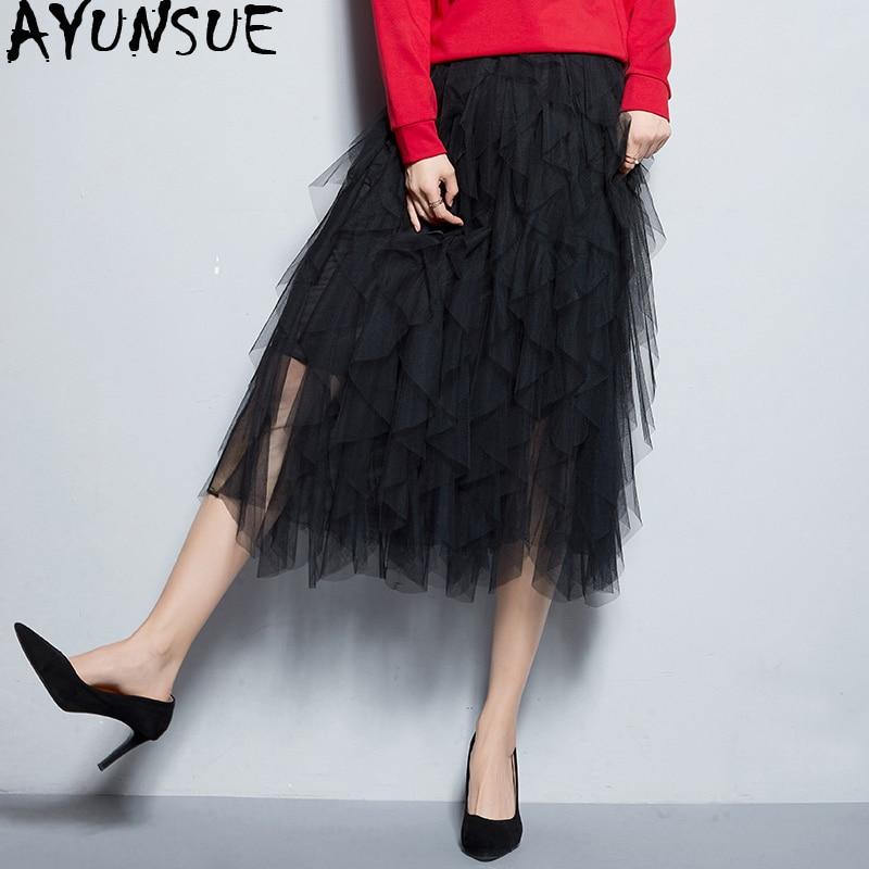 d097682e1d black Malla Coreano Mujer Apricot Faldas Las Tul Mujeres Verano Irregular  De light Midi Falda Elegante ...