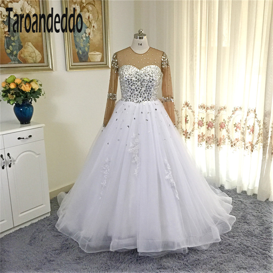 2017 Sheer Top Said Mhamad Long Sleeves Rhinestones Beading Ball Gowns Wedding Dress for Black Girl Africa Style Bridal Dress