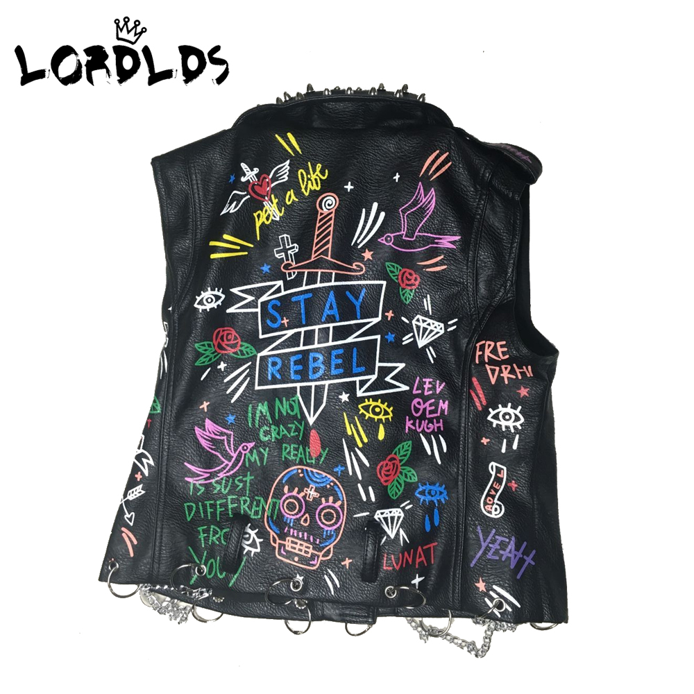Lordld noir en cuir gilet femmes moto Streetwear Pu cuir veste sans manches femme Steampunk imprimé Biker gilet - 2