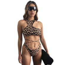 Halter Leopard Printed Hollow out Two-piece Swimwear Swimsuit Brazilian Sexy Female Push Up Padded Bra Bandage Cross Bikini Set