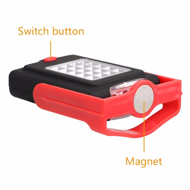 Portable LED Light Flashlight LED Torch Lantern Work Light 23 LED 2 Modes Camping Bicycle Lamp with Built-in Magnet Hook