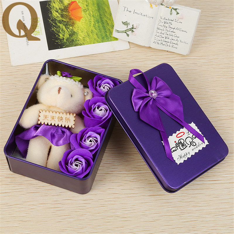 High Quality Romantic Rose Soap Flower With Little Cute Bear Doll