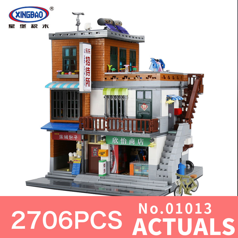 XingBao 01013 2706Pcs Genuine Creative guest House The Toys and store Set Building Blocks Bricks Toy Model for Christmas managing the store