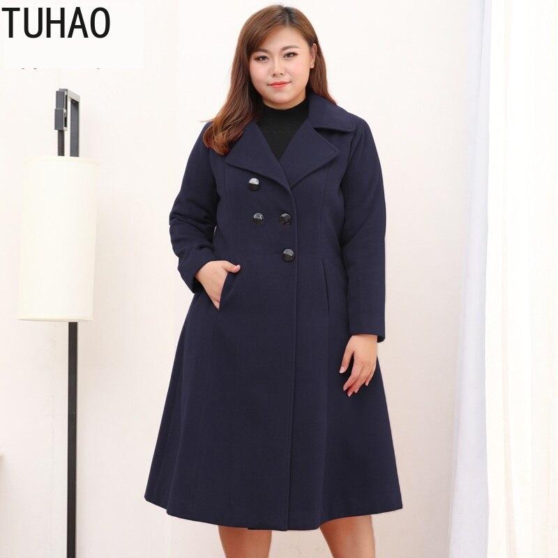 Женская шерстяная ветровка большого размера, длинное пальто в Корейском стиле, теплая шерстяная куртка 8XL 9XL 10XL размера плюс MS, 2019