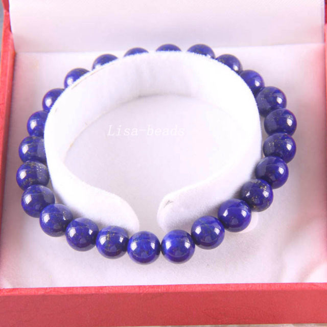 "Free Shipping Fine Jewelry Stretch Blue 8MM Round Beads 100% Natural AA Genuine Lapis Lazuli Bracelet 7.5"" with Box 1Pcs J026"