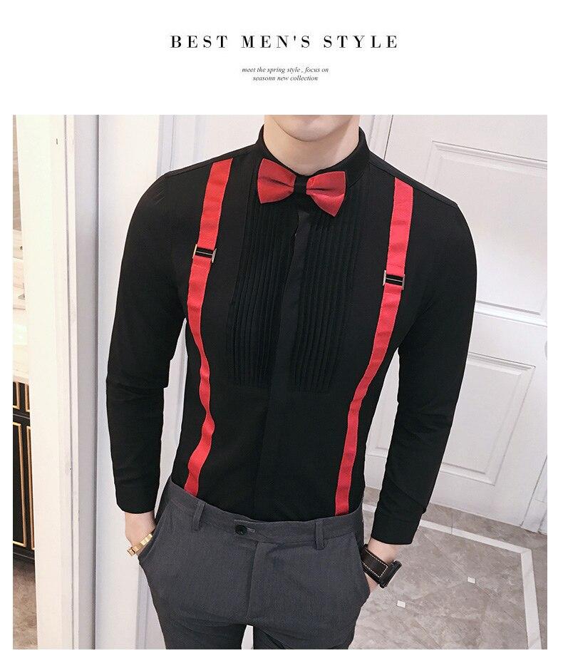 6dc94bc0 Mens Wedding Shirt With Bowties Men's Tuxedo Shirts Casual Black / White  Wedding Bridegroom Shirts Long Sleeve Men Dress Shirt