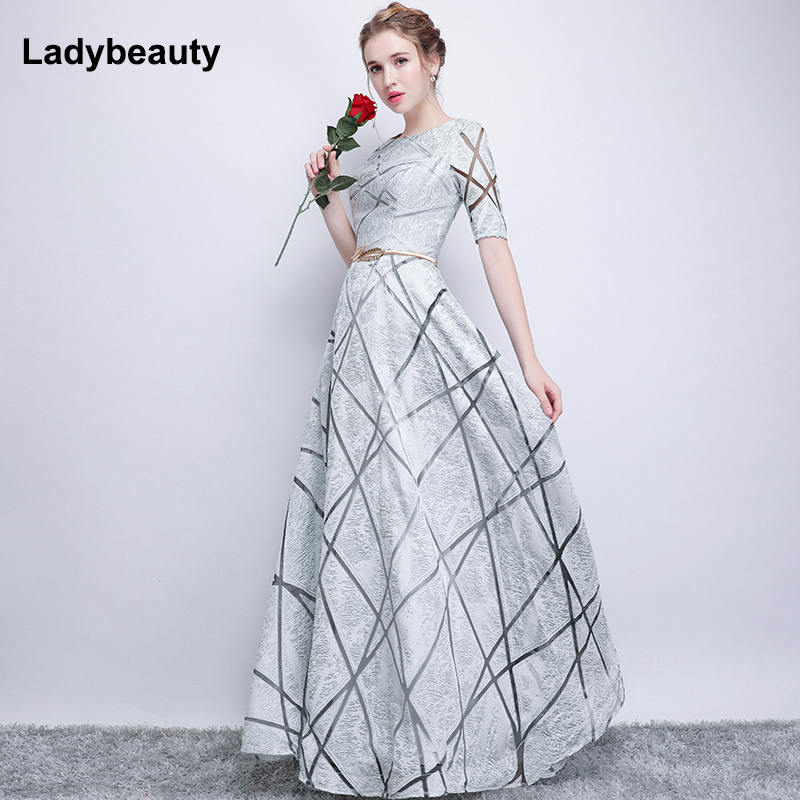Robe De Soiree Half Sleeves white Long Evening Dresses 2018 lacing Vintage Lace Top Cheap Prom