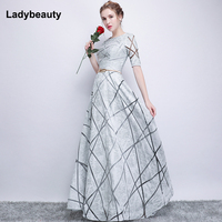 4c6644dc13cb83 Robe De Soiree Half Sleeves White Long Evening Dresses 2018 Lacing Vintage  Lace Top Cheap Prom