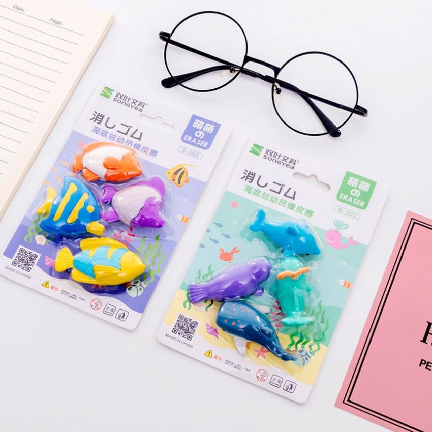 4pcs/set Marine Animal Set Four One Card Random Beautiful Shape Gift Stationery For Children