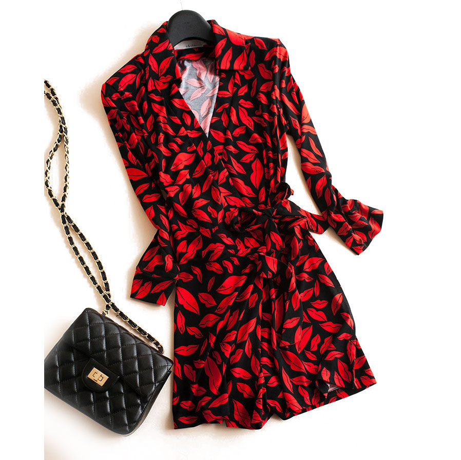 2018 Runway Combinaison Short Womens Rompers V-Neck Red Lips Print Wrapped Jumpsuit Sexy Playsuit Ladies Lace Up Bodysuit