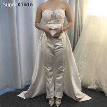 SuperKimJo Women Pants for Weddings 2019 Vestido De Noiva Lace Applique Jumpsuits Woman Detachable Skirt Wedding Dress