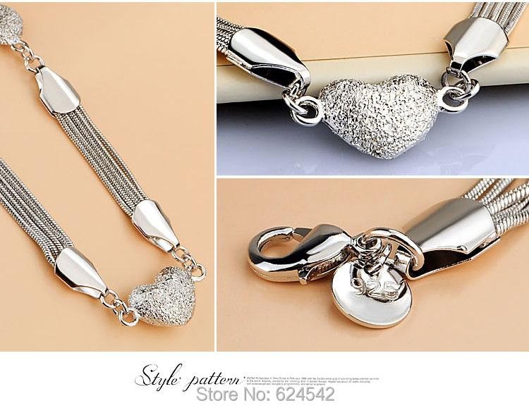 Ren silver Hjärthängen halsband för kvinnor; 925 sterling silver - Fina smycken - Foto 4
