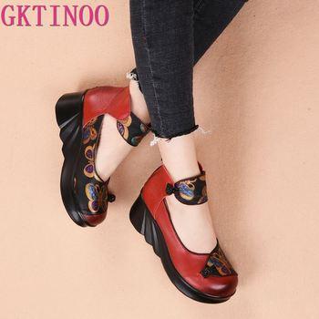 GKTINOO Genuine Leather Women Shoes 5CM High Heels Handmade Summer Pumps Flower Wedge