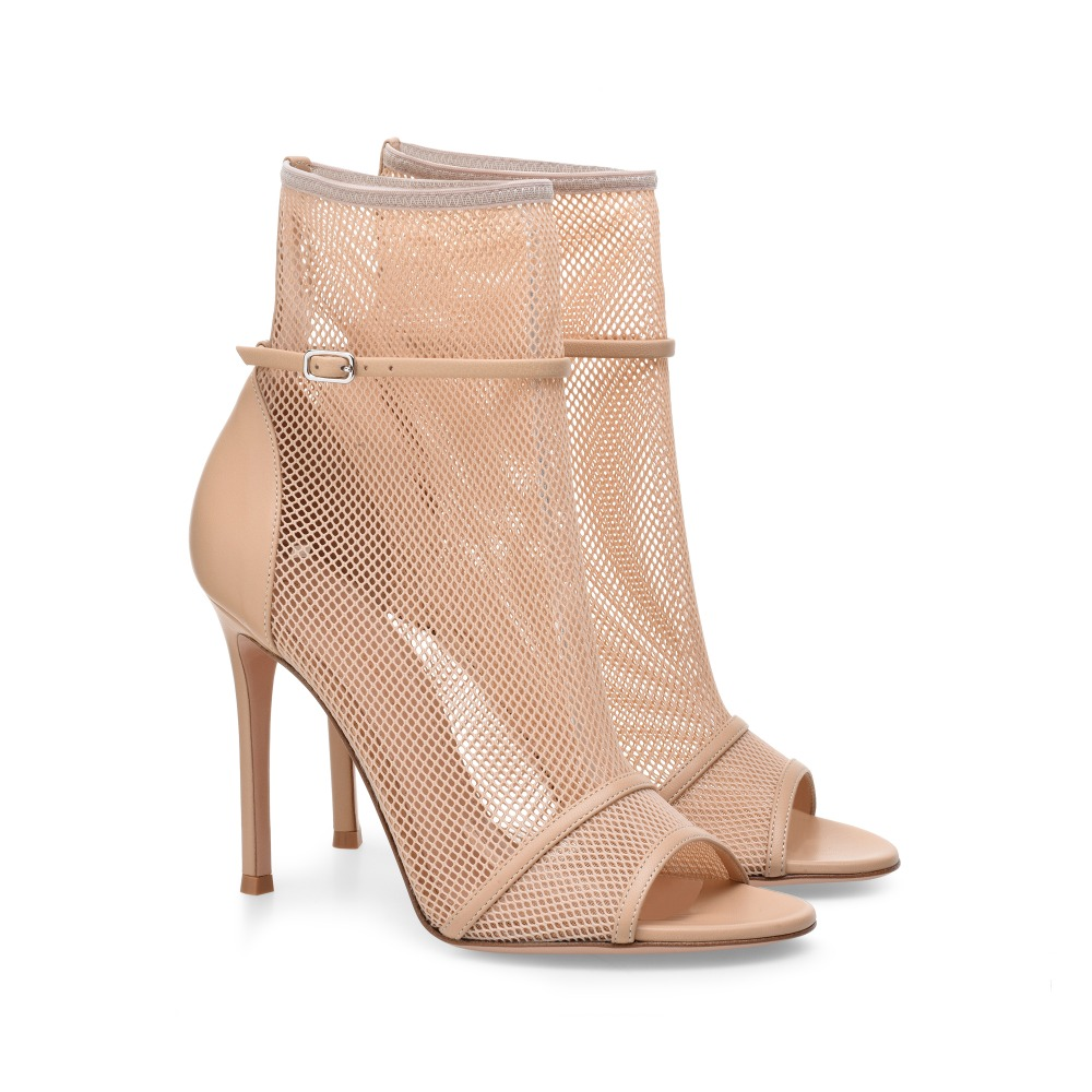 Peep Toe High Heel Mesh Ankle Boots Sexy Fishnet Summer Booties Nude Ankle Strap Ladies Dress Shoes 45 46 2015 new women sexy fishnet stockings fishnet pantyhose ladies mesh lingerie for female tights