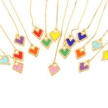 Trendy Multi-Color Heart Ear Line Earring Women Girl Miyuki Glass Beads Handmade Candy Colors Charm Earrings Friendship Jewelry