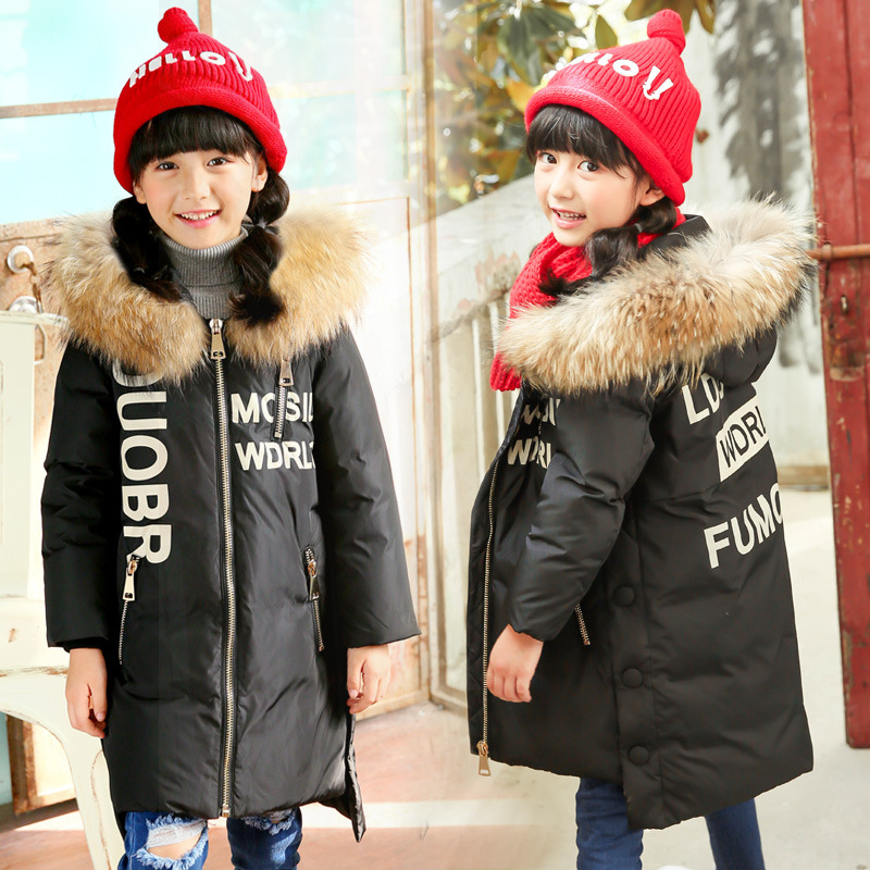 Children Winter Coat for Girl Fur Collar Long Down Coat Windproof Thickening Boys Outerwear Warm Parkas Winter Duck Down Jackets 2017 kids jacket winter for girl and coats duck down girls fluffy fur hooded jackets waterproof outwear parkas coat windproof