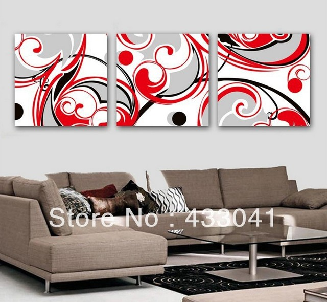 Hand Painted Black White Red Wall Art Decor For Living Room Modern Abstract 3 Panel Sets