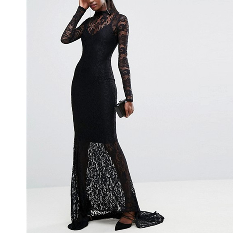 Women Long Sleeves Black Lace Party Gowns Dress 2017 New Sexy Slim Backless See Through Hollow Out Vestido Long Maxi Dress