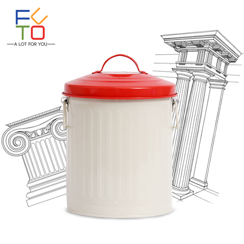 Food Storage Container Iron Jars And Lid Handle Tea Coffee Sugar Flour Dog Can