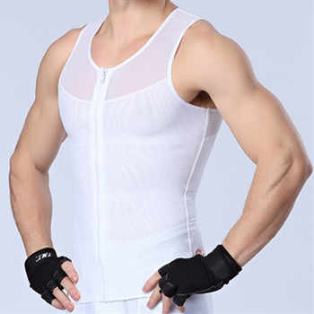Zipper Gynecomastia Shaper Men Chest Binder Boobs Control Compression Tanks Top Slimming Body Shapers Abdomen Belly Trimmer