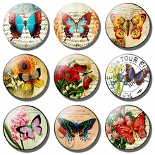 Colorful Butterflies Flower Fridge Magnet 30 MM Butterfly Glass Refrigerator Magnetic Holder Home Decor Kitchen Accessories