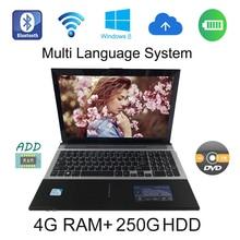 2017 Фирменная Новинка Windows 7/8 системы 15.6 дюймов ноутбук Intel Celeron J1900 2.0 ГГц 4 г ОЗУ 250 г HDD в камера с DVD-RW