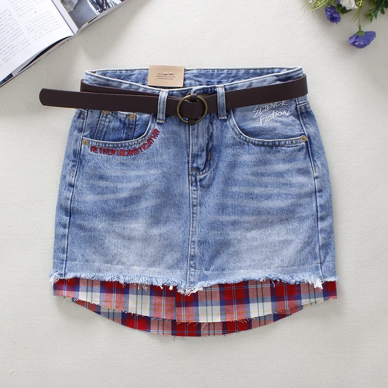 2018 Summer Blue Jeans Skirts Womens Letter Embroidery Grid Cloth Patchwork Pencil Skirts Above Knee Mini Denim Skirts 8951