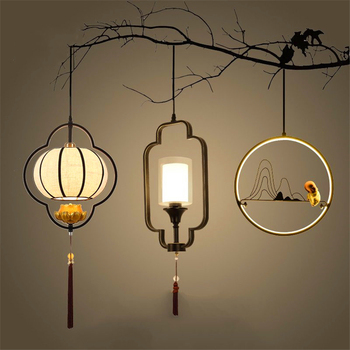 Chinese Vintage LED Chandelier Lighting Hall Dining Corridor Restaurant Lustres Hanging Lamp Decor Maison Kitchen Fixtures