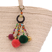 2019 New Popular 1pc Handmade Bodhi Colorful Pompom Ball Walnut Keychains Minority Jewelry Car Hanging Thailand Style Hot