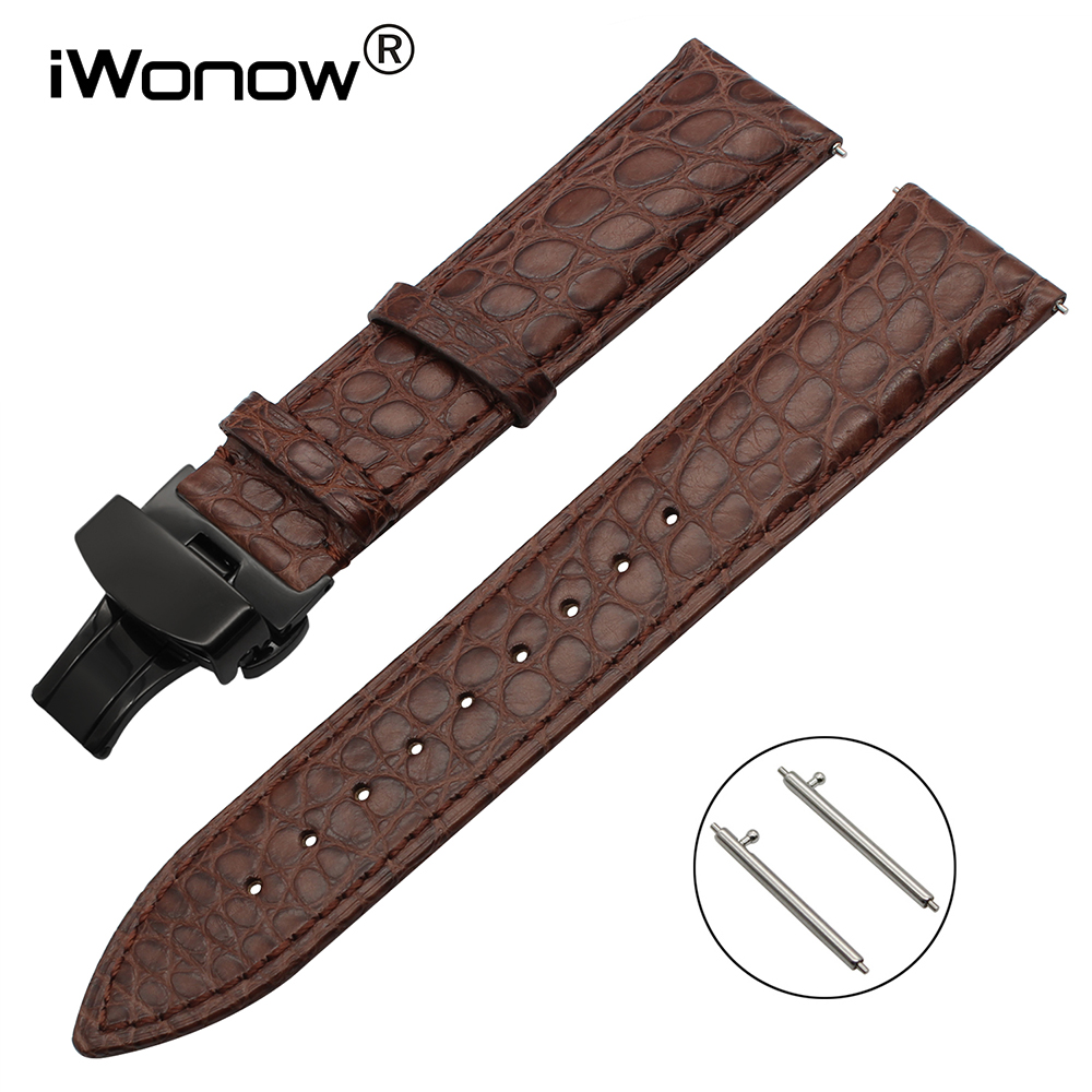 цена на 18mm Genuine Alligator Leather Watchband for LG Watch Style Withings Activite / Pop/ Sapphire / Steel HR 36mm Band Wrist Strap
