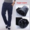 Algodão de Lã inverno Engrossar Calças ocasionais dos homens dos homens Heavyweight Calças Inverno Quente Magro Cabido Ativo Casual Sweatpants 3XL