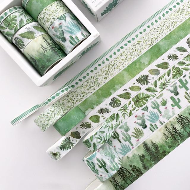8 unids/pack hojas verdes Cactus bala diario Washi cinta adhesiva cinta DIY Scrapbooking etiqueta adhesiva cinta adhesiva