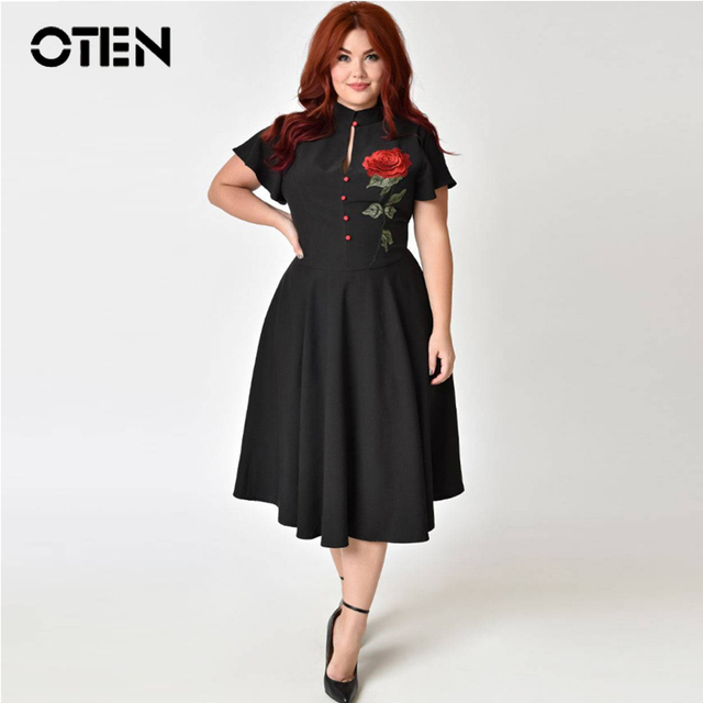 OTEN Woman 2018 summer midi retro 50s 60s plus size clothing flower  embroidery black vintage Casual party dresses large size ed0ca31f3aab