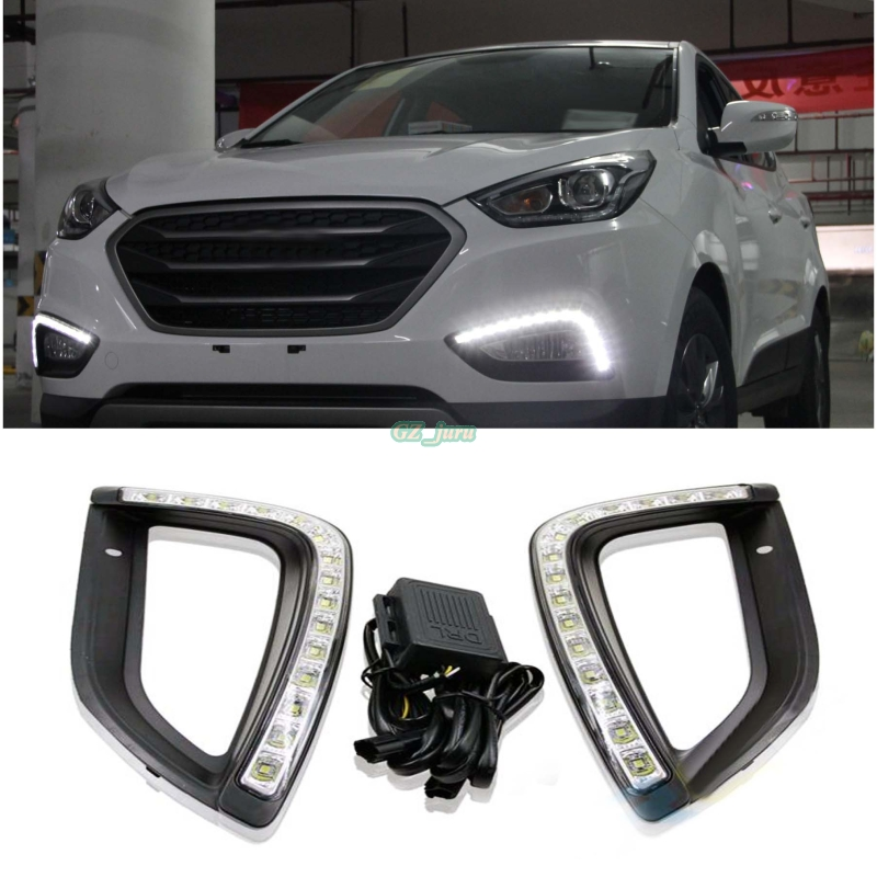 Waterproof style Relay 12v LED DRL daytime running lights For Hyundai IX35 Daytime Running Light LED DRL Fog Lamps Tucson 2013 led daytime running lights for hyundai grand santa fe ix45 2013 2018 drl fog lamps