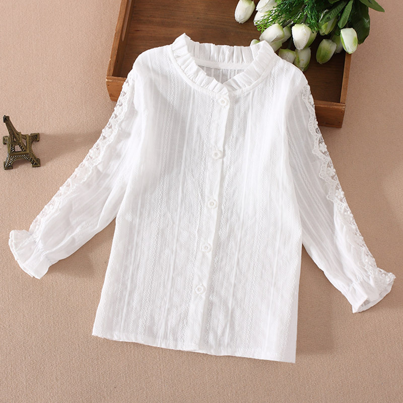 Kids White Shirts For Girl Long Sleeve Lace Girls Blouses Spring Autumn Children School Uniforms Students Tops 4 6 8 10 12 Years