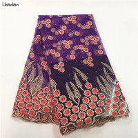 Pretty Purple french lace tulle with stones and beads with sunflowers pattern embroidered 5yards/pcs for sewing dress ZJ84 26