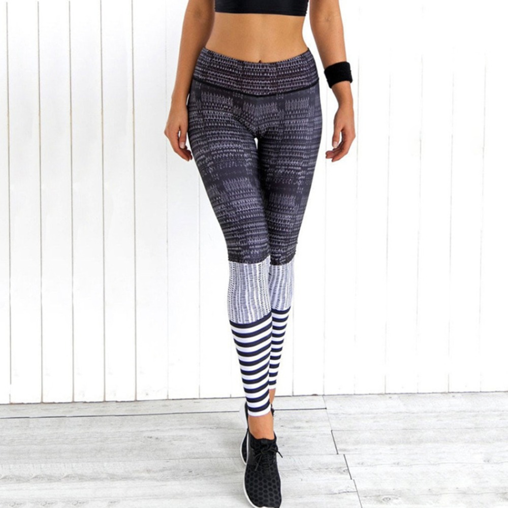 Summer hot new fashion fitness tri-color striped print nine points leggings sexy slim high waist casual hip women