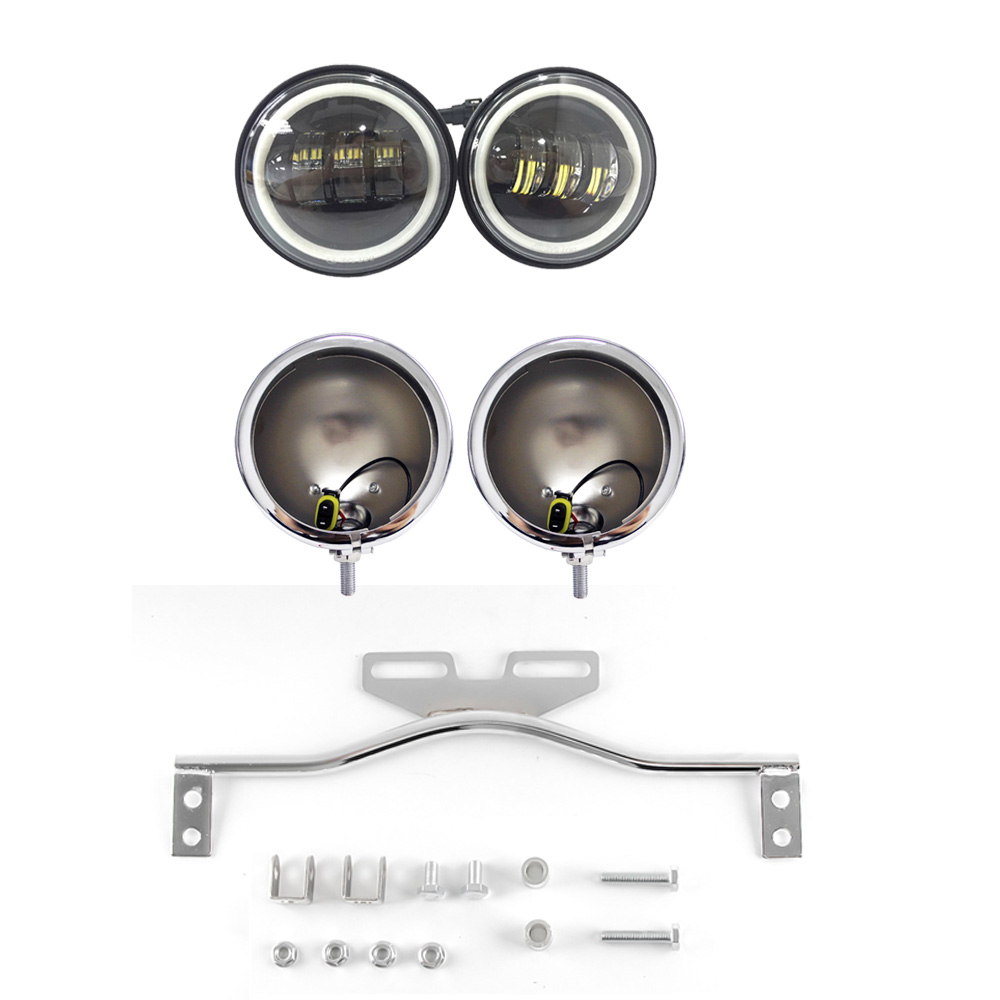 Chrome moto lumière support barre de conduite Spot 4.5