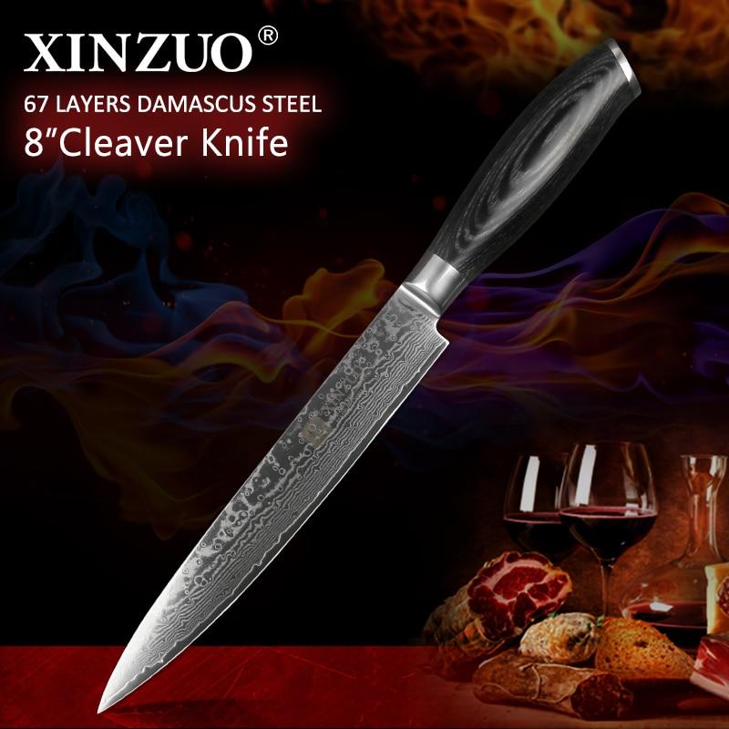 "Xinzuo 8 ""인치 식칼 고기 칼 높은 탄소 독일 강철 다마스커스 스테인리스 부엌 칼 사시미 칼 pakkawood 손잡이-에서주방 칼부터 홈 & 가든 의  그룹 1"