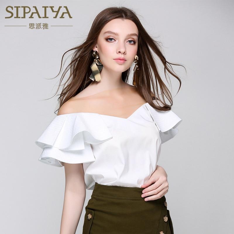 Femmes chemises SIPAIYA 2017 Sexy col en V maille couture Blouse chemise mode coréenne haut pour femme femme manches à volants chemise Blusa