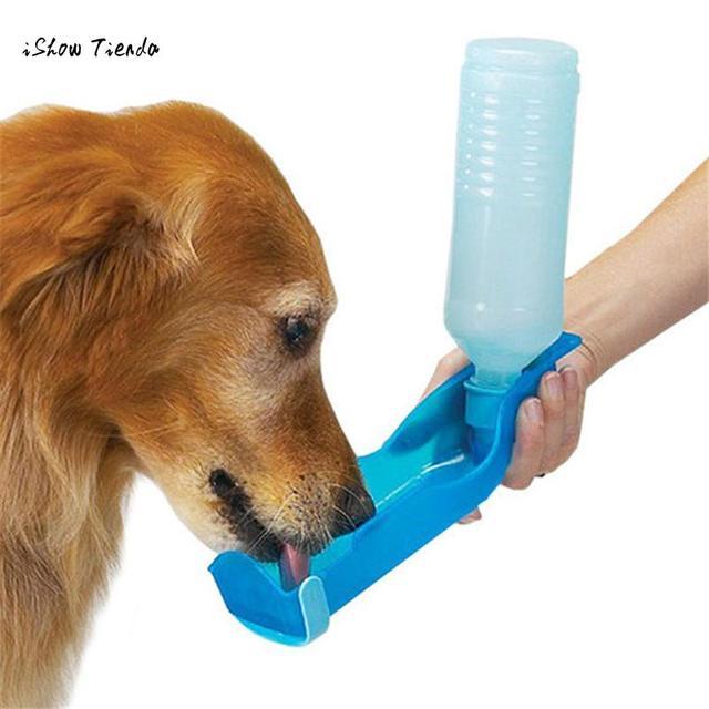 ISHOWTIENDA nuevo Potable 250 ml plegable para mascotas perro gato agua Potable botella de dispensador de alimentación tazón Color al azar # Vovo509