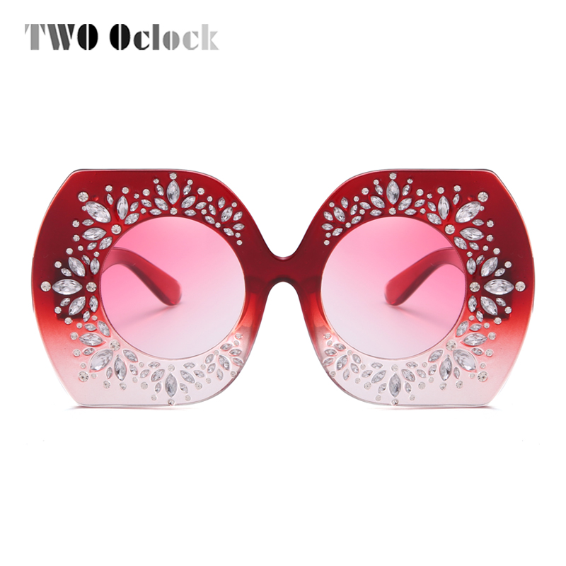 TWO Oclock Luxury Ladies Crystal Sunglasses Women Red Designer Sun Glasses Oversized Irregular Eyewear Rhinestone Shades R66245