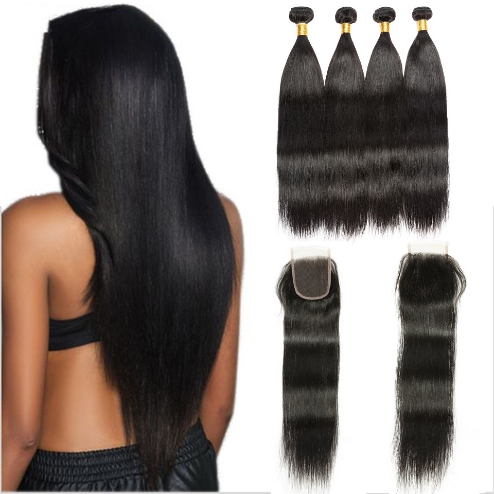 Deal Straight Hair Weave Peruvian 4 Bundles With Closure High Quality Peruvian Human Hair Extensions With Swiss Lace Closure
