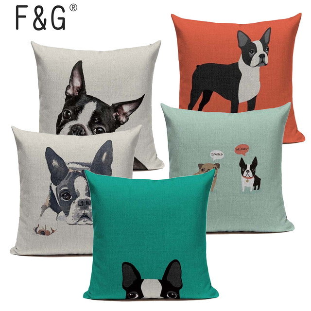 Hot Linen boston terrier French Bulldog Gifts Luxury Cushion Pillow Case 45Cmx45Cm Square Office Chair Handmade