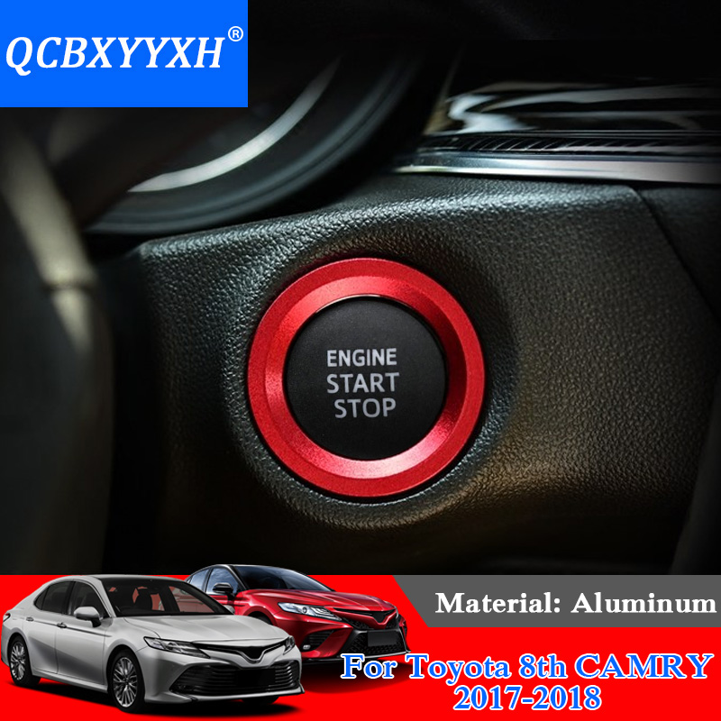 QCBXYYXH Car Styling Aluminum Ignition Switch Cover For Toyota 86 Camry Corolla Vios Reiz RAV4 CHR Yaris L Highlander Alphard yuzhe leather car seat cover for toyota rav4 prado highlander corolla camry prius reiz crown yaris car accessories styling