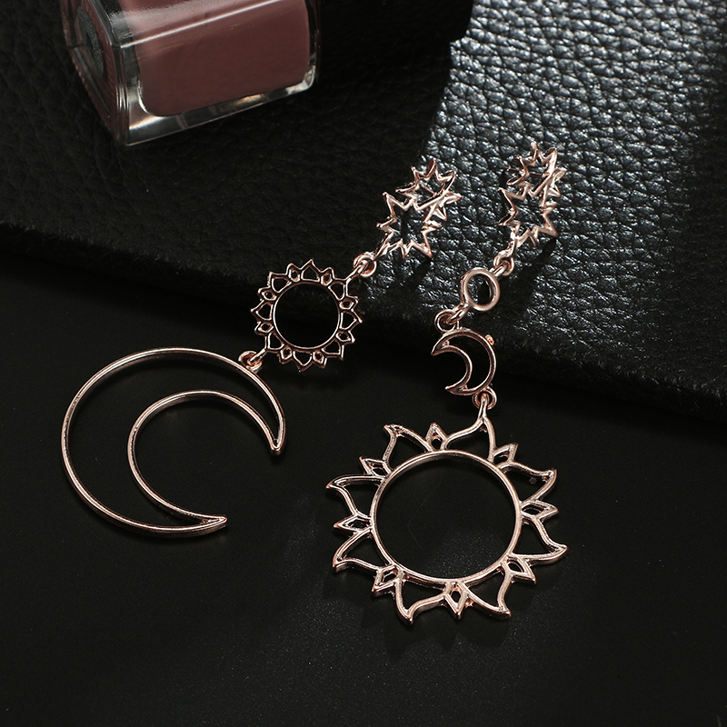 docona Rose Gold Star Moon Drop Dangle Earrings for Women Girl Hollow Geometric Pendant Earring Trendy Jewelry Pendientes 3023 6