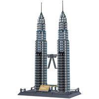 KAZI Mini Architecture Large Petronas Twin Towers Kuala Lumpur Action Building Block Sets Educational Toys For